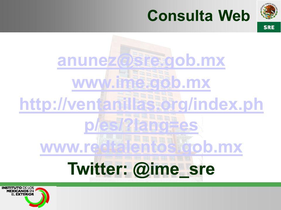anunez@sre.gob.mx www.ime.gob.mx http://ventanillas.org/index.ph p/es/?lang=es www.redtalentos.gob.mx Twitter: @ime_sre Consulta Web