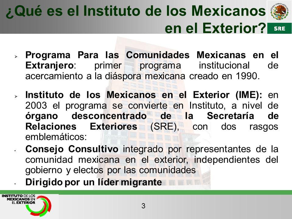 Programa Para las Comunidades Mexicanas en el Extranjero: primer programa institucional de acercamiento a la diáspora mexicana creado en 1990. Institu