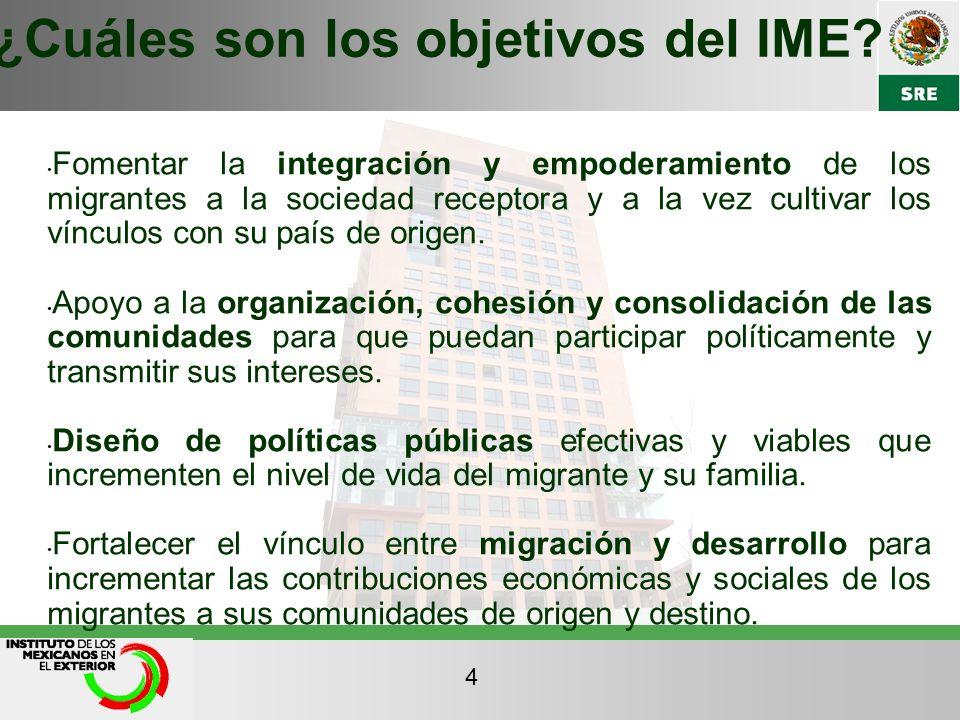 Fomentar la integración y empoderamiento de los migrantes a la sociedad receptora y a la vez cultivar los vínculos con su país de origen. Apoyo a la o