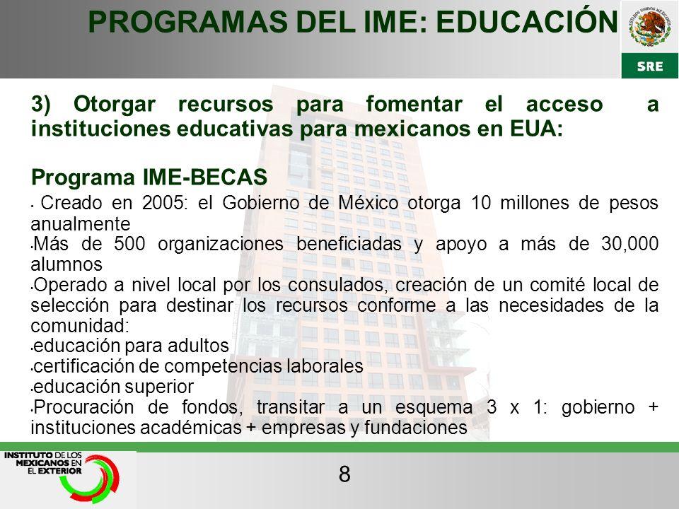 PROGRAMAS DEL IME: EDUCACIÓN 3) Otorgar recursos para fomentar el acceso a instituciones educativas para mexicanos en EUA: Programa IME-BECAS Creado e
