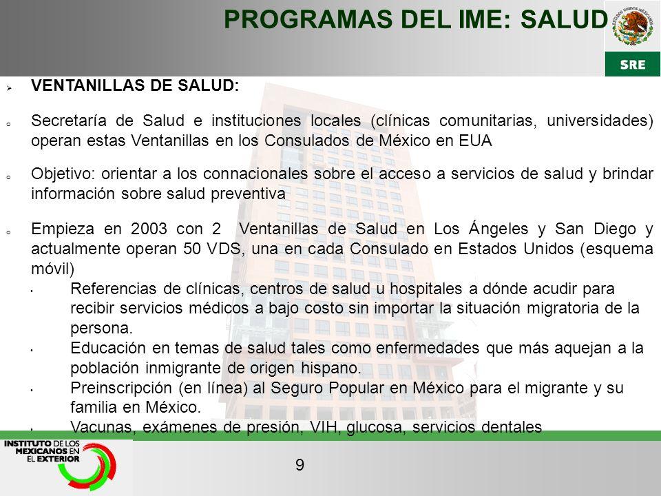 PROGRAMAS DEL IME: SALUD VENTANILLAS DE SALUD: o Secretaría de Salud e instituciones locales (clínicas comunitarias, universidades) operan estas Venta