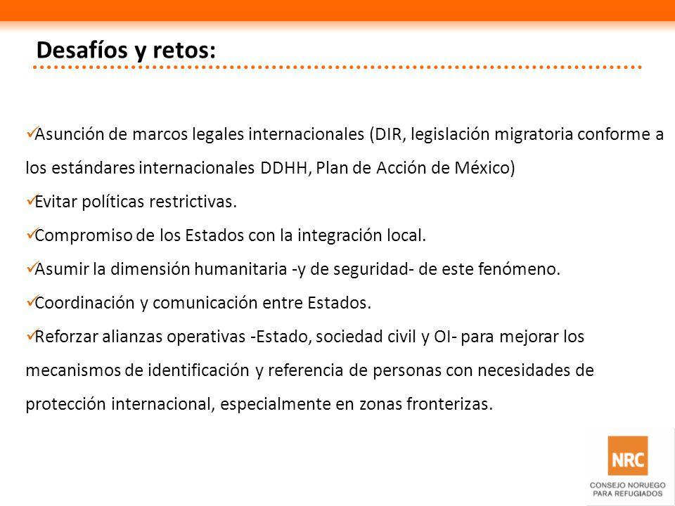 Desafíos y retos: Asunción de marcos legales internacionales (DIR, legislación migratoria conforme a los estándares internacionales DDHH, Plan de Acci