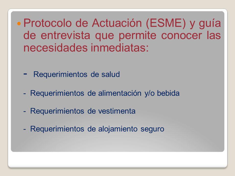 Protocolo de Actuación (ESME) y guía de entrevista que permite conocer las necesidades inmediatas: - Requerimientos de salud - Requerimientos de alime