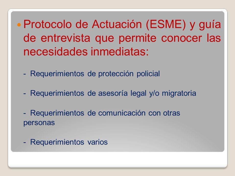 Protocolo de Actuación (ESME) y guía de entrevista que permite conocer las necesidades inmediatas: - Requerimientos de protección policial - Requerimi