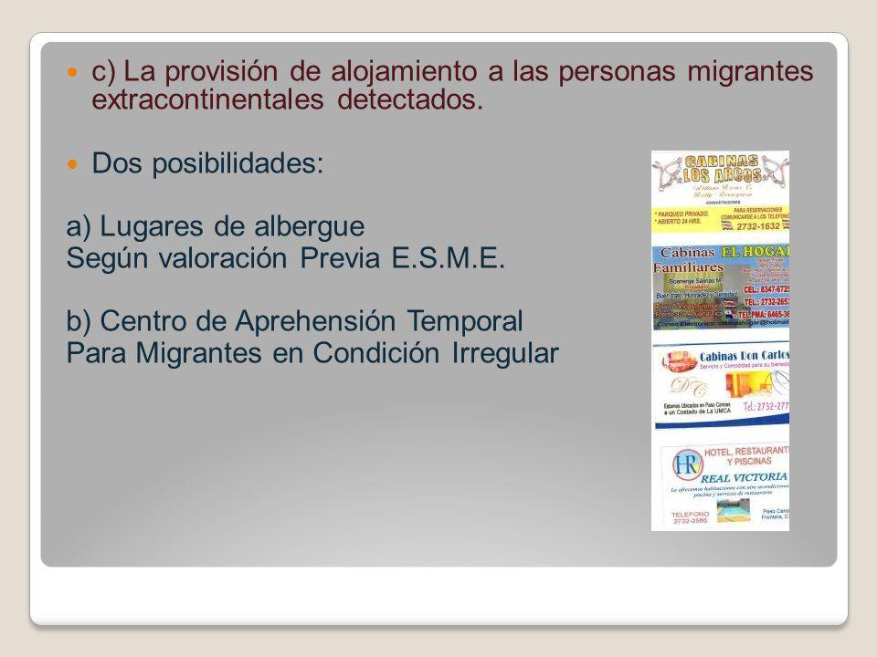 c) La provisión de alojamiento a las personas migrantes extracontinentales detectados. Dos posibilidades: a) Lugares de albergue Según valoración Prev