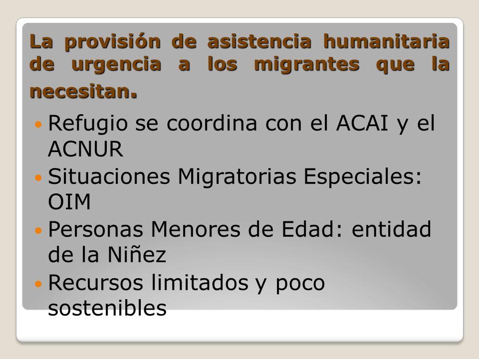 La provisión de asistencia humanitaria de urgencia a los migrantes que la necesitan. Refugio se coordina con el ACAI y el ACNUR Situaciones Migratoria