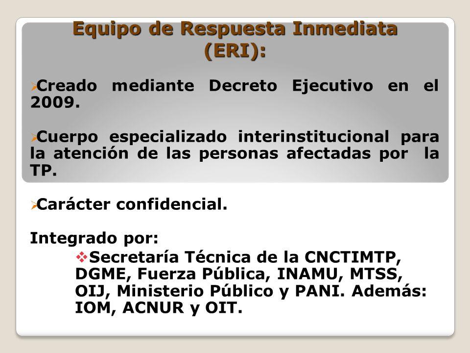 Equipo de Respuesta Inmediata (ERI): Creado mediante Decreto Ejecutivo en el 2009. Cuerpo especializado interinstitucional para la atención de las per