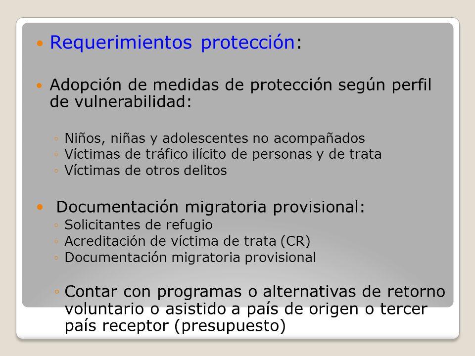 Requerimientos protección: Adopción de medidas de protección según perfil de vulnerabilidad: Niños, niñas y adolescentes no acompañados Víctimas de tr