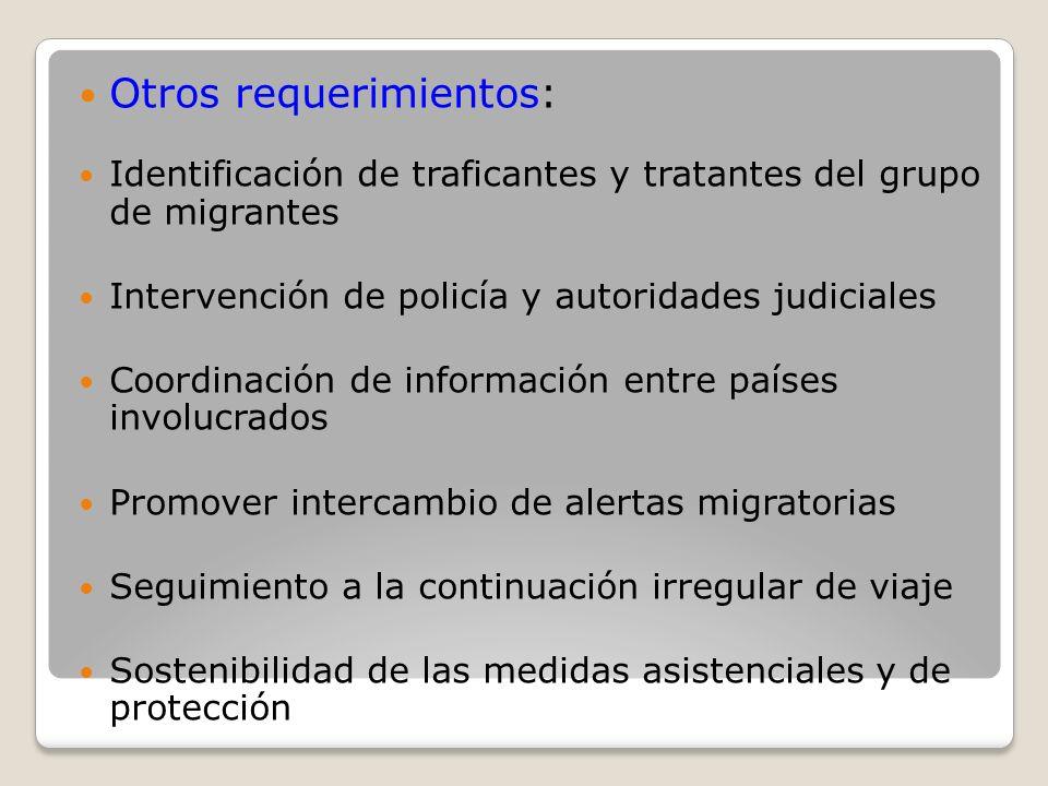 Otros requerimientos: Identificación de traficantes y tratantes del grupo de migrantes Intervención de policía y autoridades judiciales Coordinación d