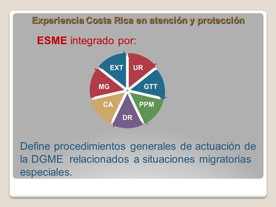 Experiencia Costa Rica en atención y protección ESME integrado por: Define procedimientos generales de actuación de la DGME relacionados a situaciones