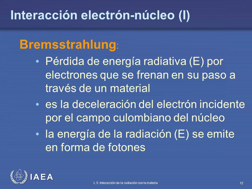 IAEA L 5: Interacción de la radiación con la materia 12 Interacción electrón-núcleo (I) Bremsstrahlung : Pérdida de energía radiativa (E) por electron