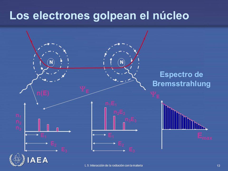 IAEA L 5: Interacción de la radiación con la materia 13 Los electrones golpean el núcleo NN n(E) E E1E1 E2E2 E3E3 n1n1 n3n3 n2n2 E1E1 E2E2 E3E3 n1E1n1