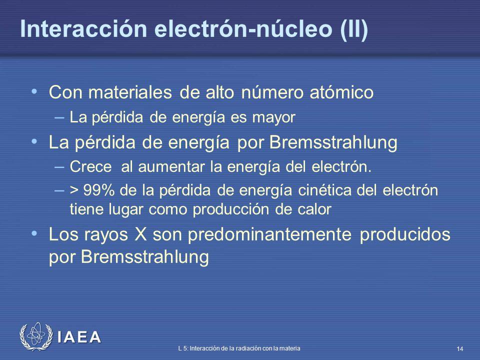 IAEA L 5: Interacción de la radiación con la materia 14 Interacción electrón-núcleo (II) Con materiales de alto número atómico – La pérdida de energía