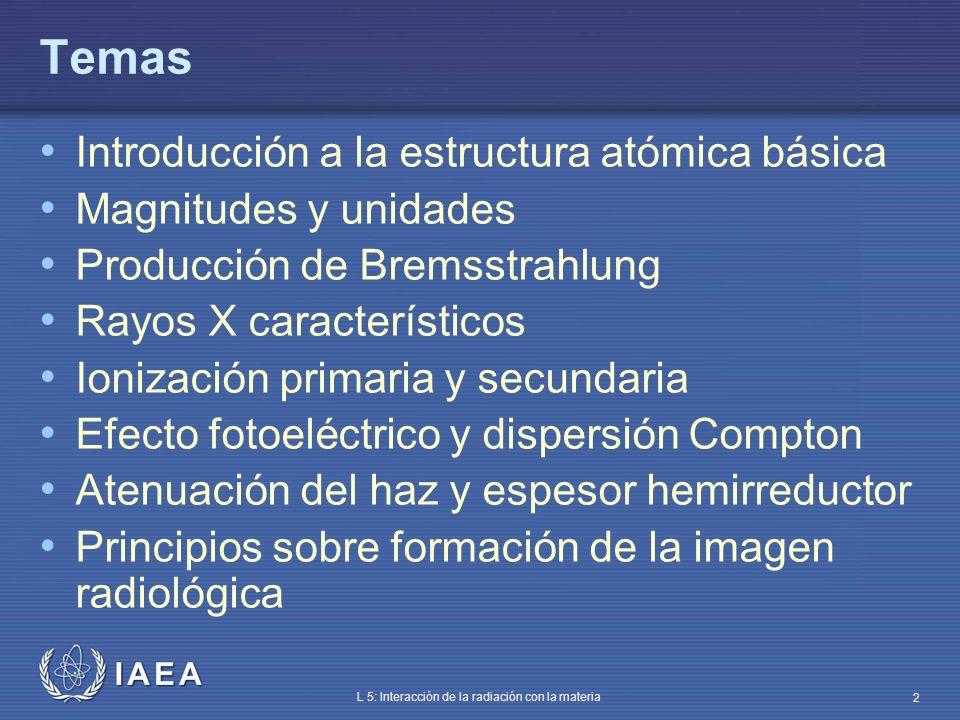 IAEA L 5: Interacción de la radiación con la materia 2 Temas Introducción a la estructura atómica básica Magnitudes y unidades Producción de Bremsstra