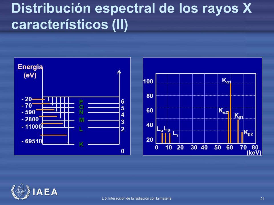IAEA L 5: Interacción de la radiación con la materia 21 L K M N O P Energía (eV) 654320654320 - 20 - 70 - 590 - 2800 - 11000 - 69510 0 10 20 30 40 50