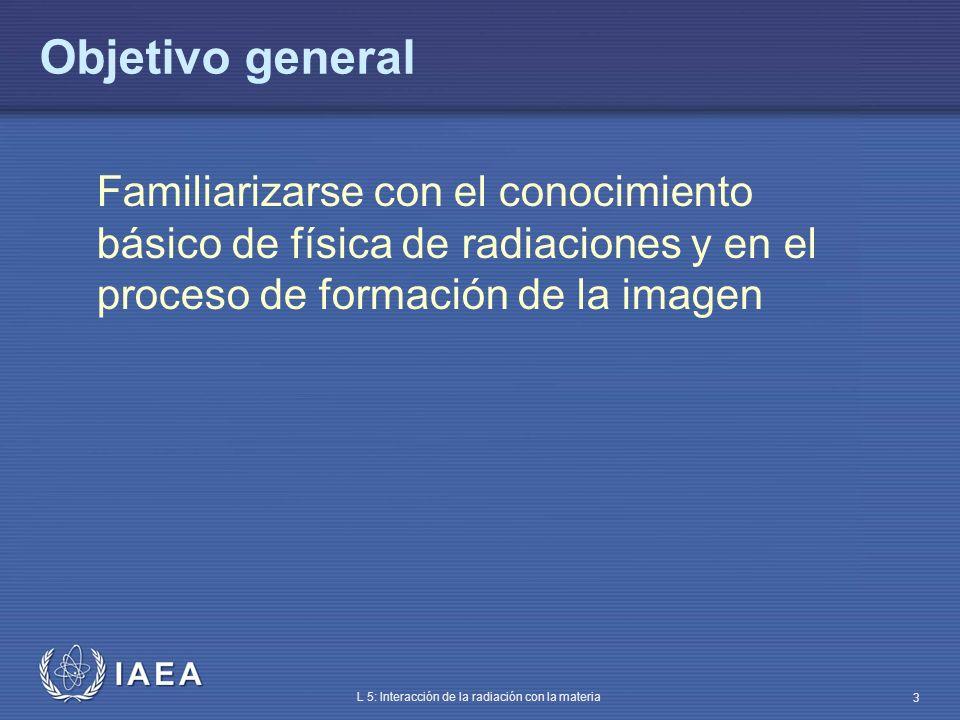 IAEA L 5: Interacción de la radiación con la materia 34 Capa hemirreductora (CHR) CHR: espesor que reduce la intensidad del haz al 50% La definición sirve estrictamente para haces monoenergéticos En haz heterogéneo, efecto endurecedor I/I 0 = 1/2 = exp (-µ CHR) CHR = 0.693/µ CHR depende del material y de la energía de los fotones La CHR caracteriza la calidad del haz Modificación de la calidad del haz mediante filtración CHR (haz filtrado) CHR (haz antes del filtro)