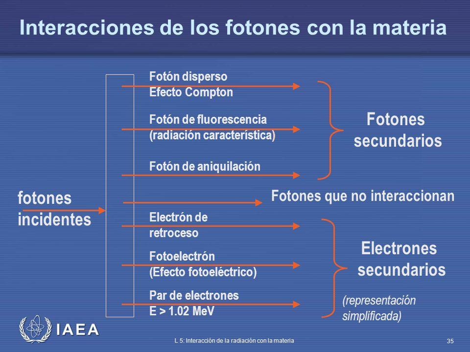 IAEA L 5: Interacción de la radiación con la materia 35 Interacciones de los fotones con la materia Fotón de aniquilación fotones incidentes Fotones s