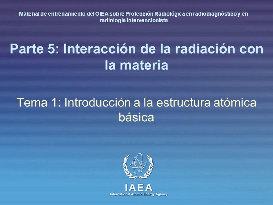 IAEA International Atomic Energy Agency Parte 5: Interacción de la radiación con la materia Tema 6: Efecto fotoeléctrico y dispersión Compton Material de entrenamiento del OIEA sobre Protección Radiológica en radiodiagnóstico y en radiología intervencionista