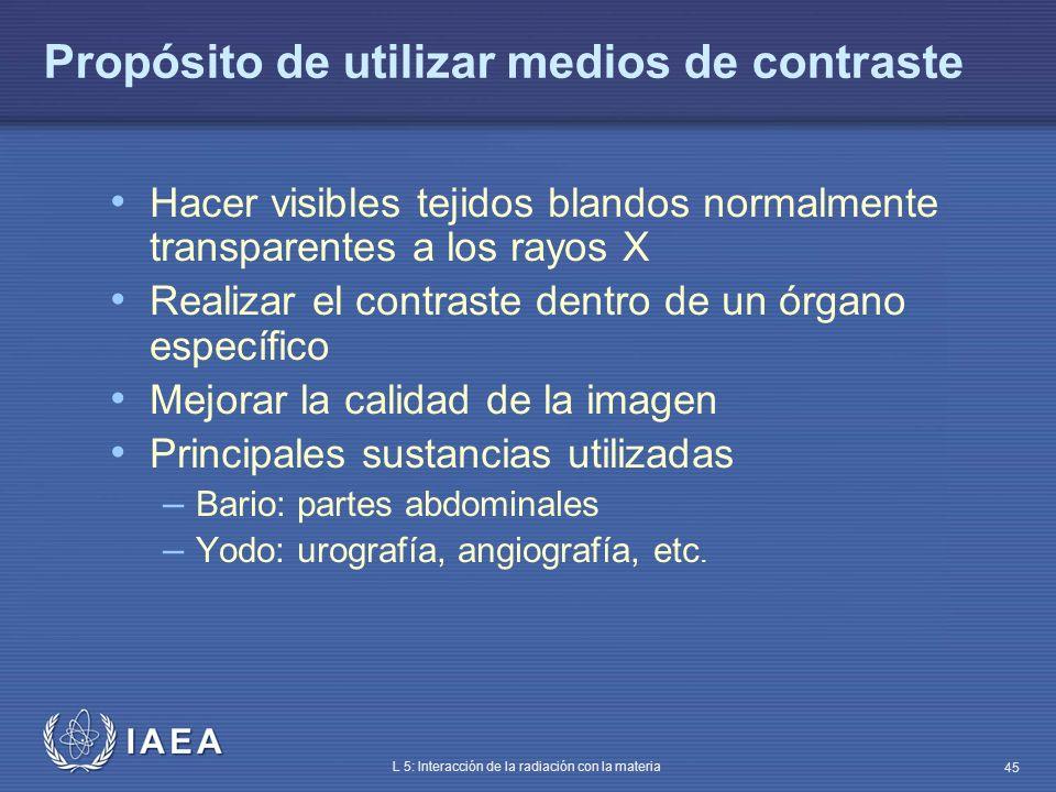 IAEA L 5: Interacción de la radiación con la materia 45 Propósito de utilizar medios de contraste Hacer visibles tejidos blandos normalmente transpare