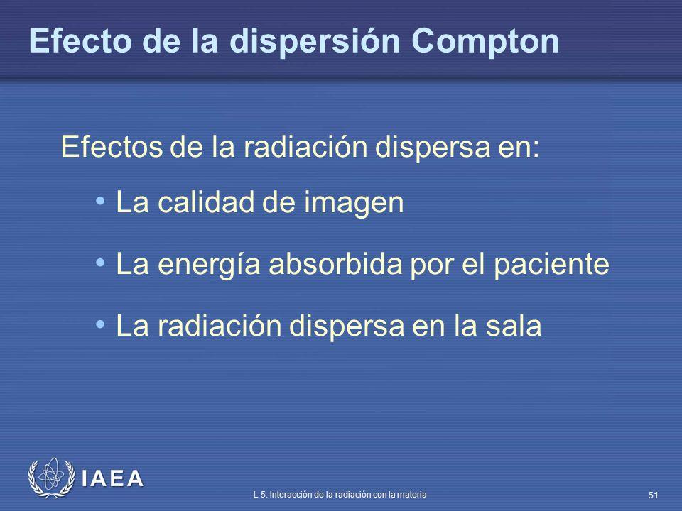 IAEA L 5: Interacción de la radiación con la materia 51 Efecto de la dispersión Compton Efectos de la radiación dispersa en: La calidad de imagen La e