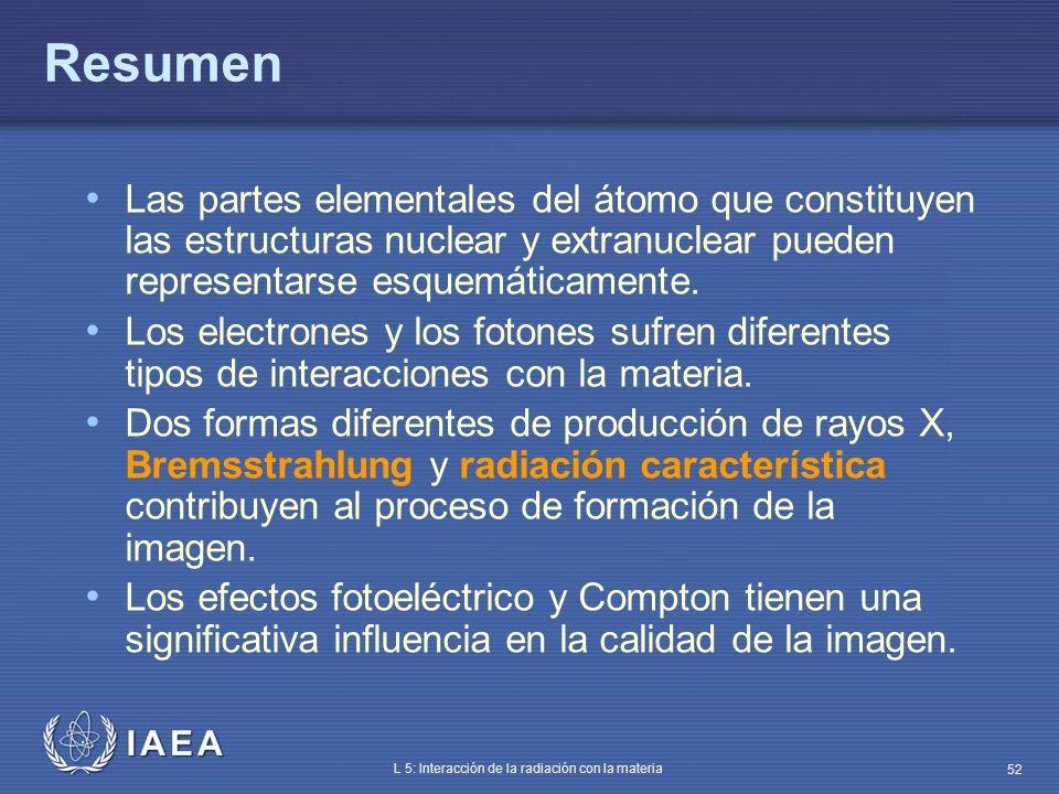 IAEA L 5: Interacción de la radiación con la materia 52 Resumen Las partes elementales del átomo que constituyen las estructuras nuclear y extranuclea