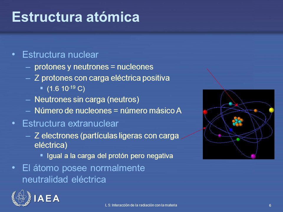 IAEA L 5: Interacción de la radiación con la materia 17 Energía del espectro de rayos X Energía máxima de los fotones de Bremsstrahlung – Energía cinética de los electrones incidentes En el espectro de rayos X de las instalaciones de radiología: – Máx (energía) = Energía al voltaje de pico del tubo de rayos X Bremsstrahlung E keV 50 100 150 200 Bremsstrahlung tras filtración keV