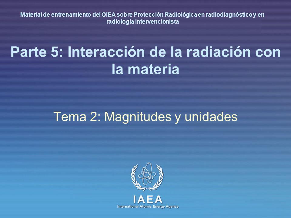 IAEA L 5: Interacción de la radiación con la materia 8 Unidades básicas en física (Sistema Internacional, SI) Tiempo: 1 segundo [s] Longitud: 1 metro [m] Masa: 1 kilogramo [kg] Energía: 1 julio [J] Carga eléctrica: 1 coulombio [C] Otras magnitudes y unidades Potencia: 1 vatio [W] (1 J/s) 1 mAs = 0.001 C