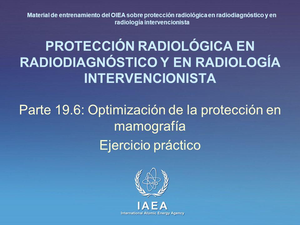 IAEA 19.6 : Optimización de la protección en mamografía 2 Perspectiva general / Objetivos Poder aplicar un protocolo de control de calidad al equipamiento de mamografía Medir, por diferentes métodos, el tamaño de la mancha focal de una instalación mamográfica Interpretación de resultados