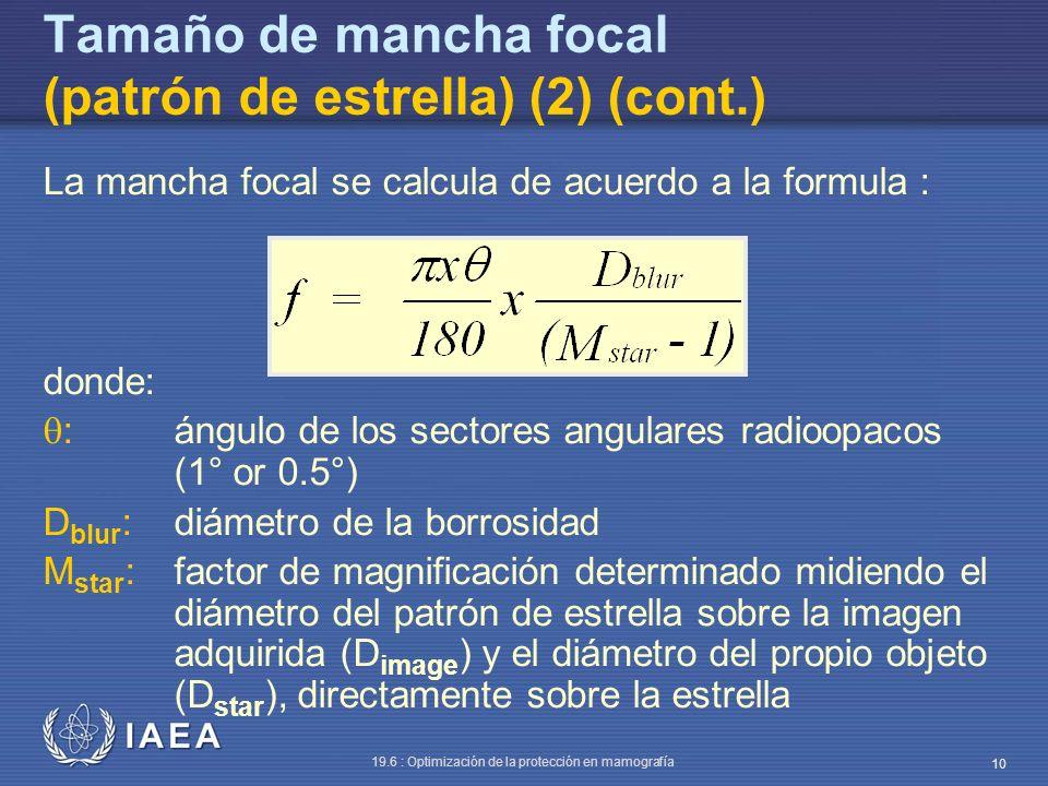 IAEA 19.6 : Optimización de la protección en mamografía 10 Tamaño de mancha focal (patrón de estrella) (2) (cont.) La mancha focal se calcula de acuer