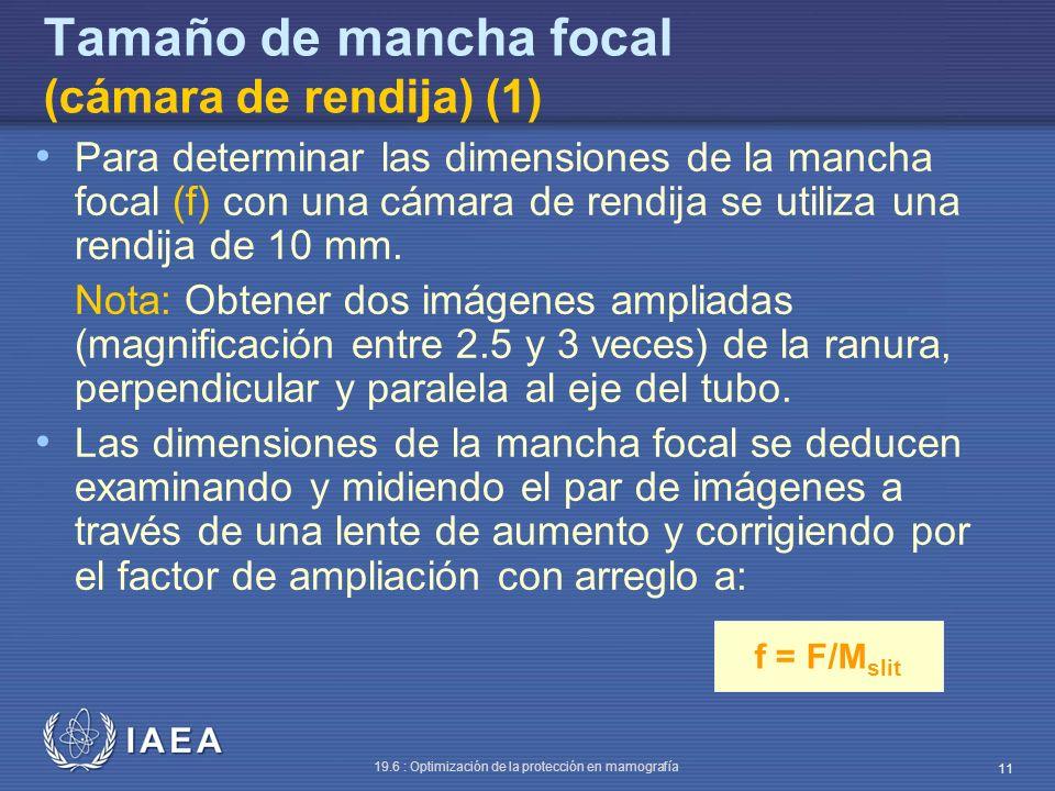 IAEA 19.6 : Optimización de la protección en mamografía 11 f = F/M slit Tamaño de mancha focal (cámara de rendija) (1) Para determinar las dimensiones