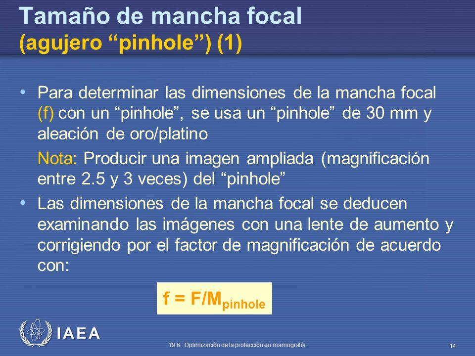 IAEA 19.6 : Optimización de la protección en mamografía 14 f = F/M pinhole Tamaño de mancha focal (agujero pinhole) (1) Para determinar las dimensione
