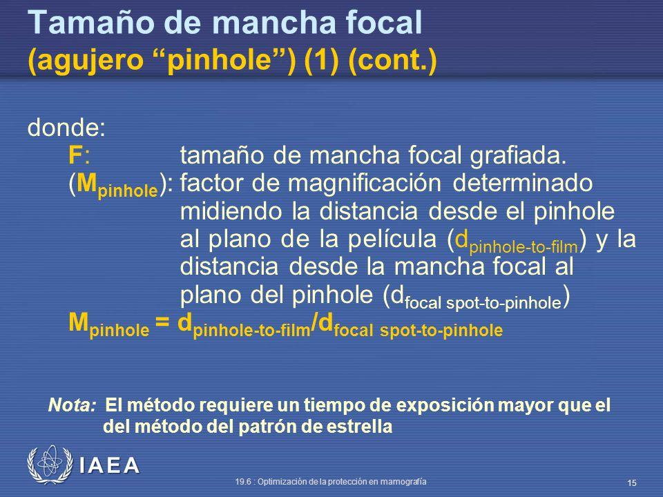 IAEA 19.6 : Optimización de la protección en mamografía 15 Tamaño de mancha focal (agujero pinhole) (1) (cont.) donde: F:tamaño de mancha focal grafia