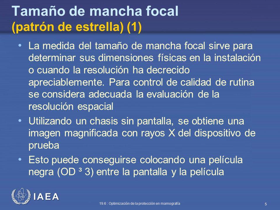 IAEA 19.6 : Optimización de la protección en mamografía 5 Tamaño de mancha focal (patrón de estrella) (1) La medida del tamaño de mancha focal sirve p