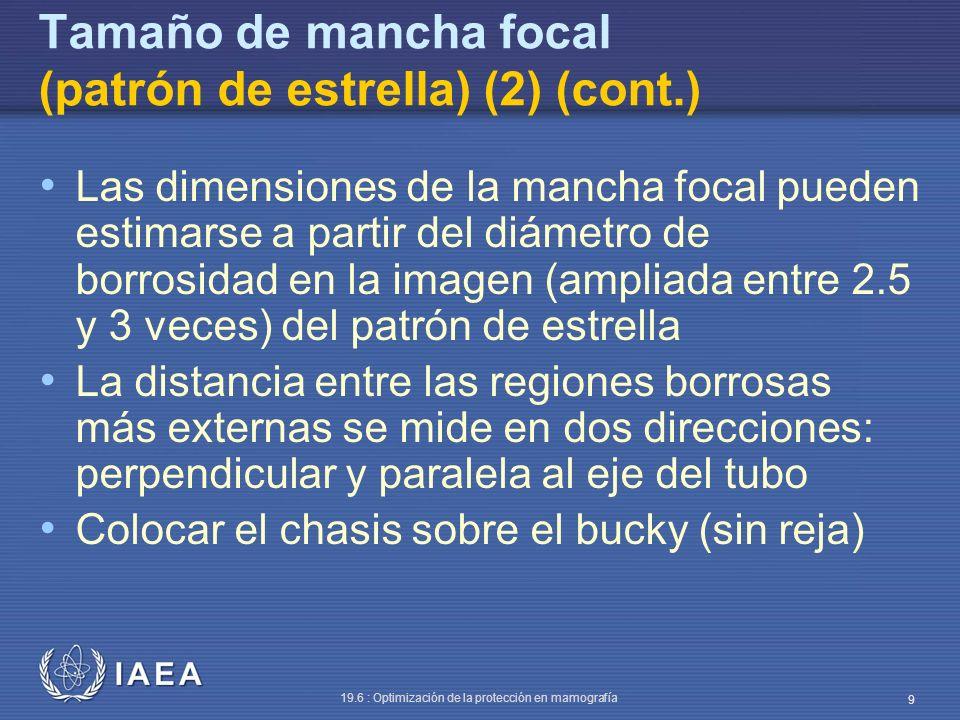 IAEA 19.6 : Optimización de la protección en mamografía 9 Tamaño de mancha focal (patrón de estrella) (2) (cont.) Las dimensiones de la mancha focal p