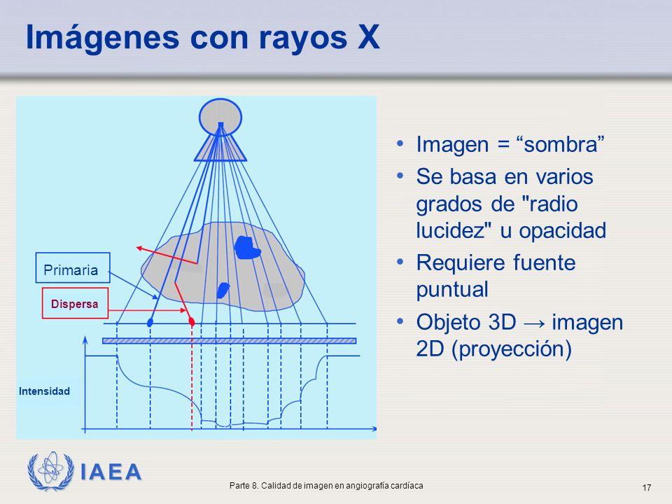 IAEA Imágenes con rayos X Imagen = sombra Se basa en varios grados de