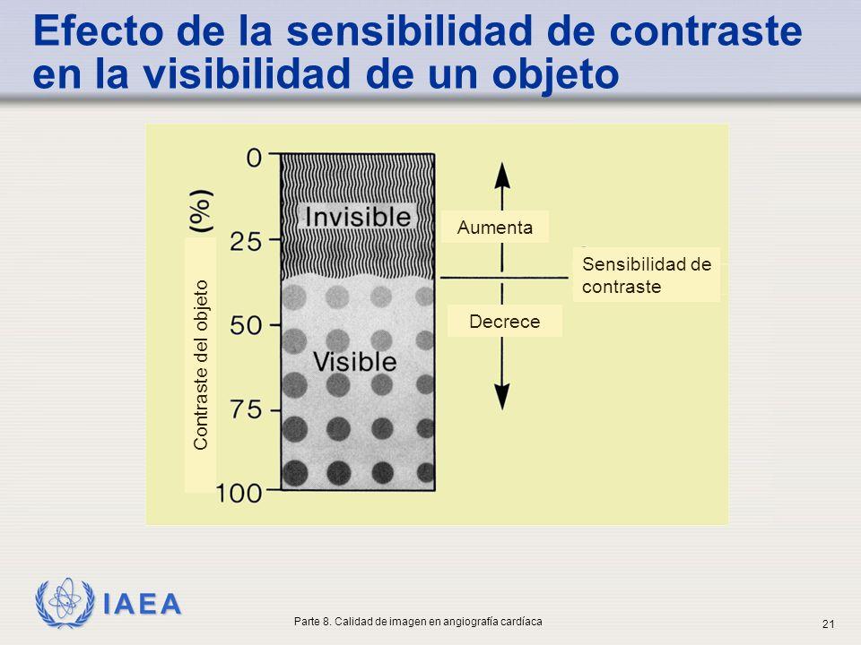 IAEA Sensibilidad de contraste Aumenta Decrece Contraste del objeto Efecto de la sensibilidad de contraste en la visibilidad de un objeto Parte 8. Cal