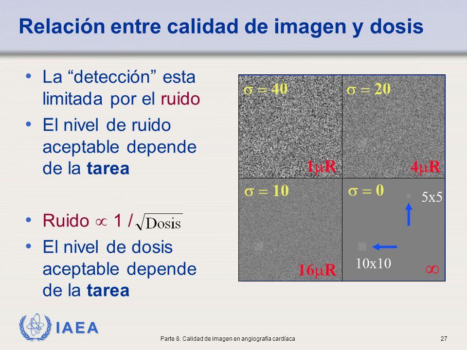 IAEA Relación entre calidad de imagen y dosis La detección esta limitada por el ruido El nivel de ruido aceptable depende de la tarea Ruido 1 / El niv