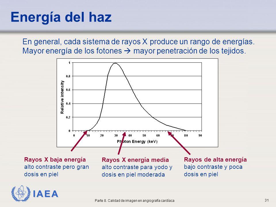 IAEA Energía del haz En general, cada sistema de rayos X produce un rango de energías. Mayor energía de los fotones mayor penetración de los tejidos.