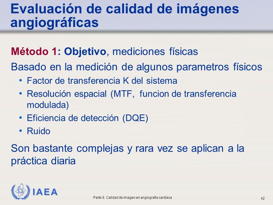 IAEA Método 1: Objetivo, mediciones físicas Basado en la medición de algunos parametros físicos Factor de transferencia K del sistema Resolución espac