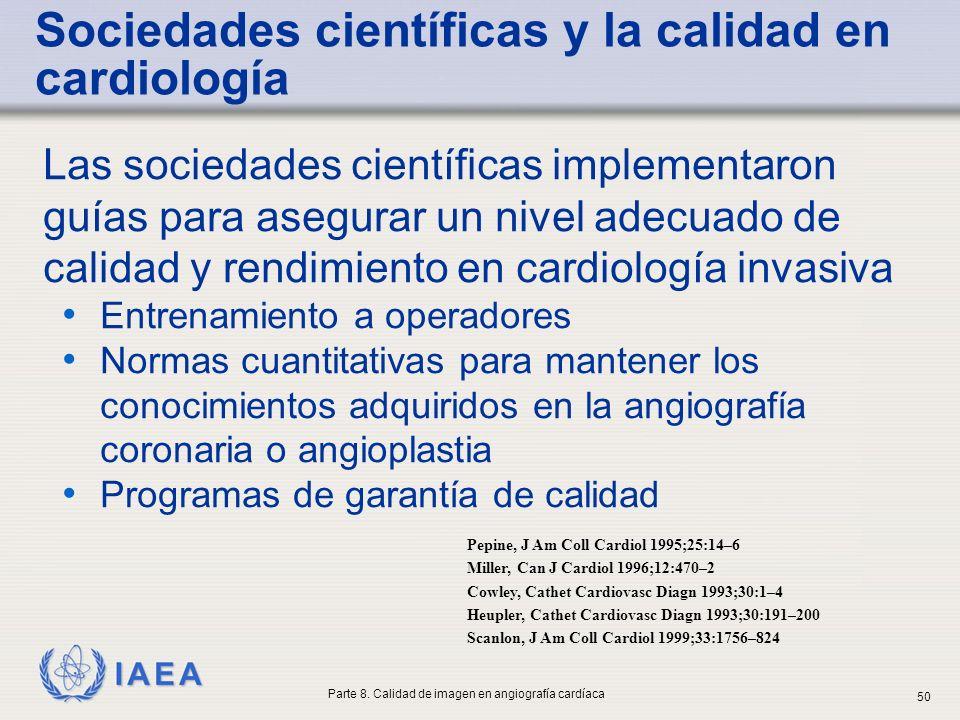 IAEA Las sociedades científicas implementaron guías para asegurar un nivel adecuado de calidad y rendimiento en cardiología invasiva Entrenamiento a o