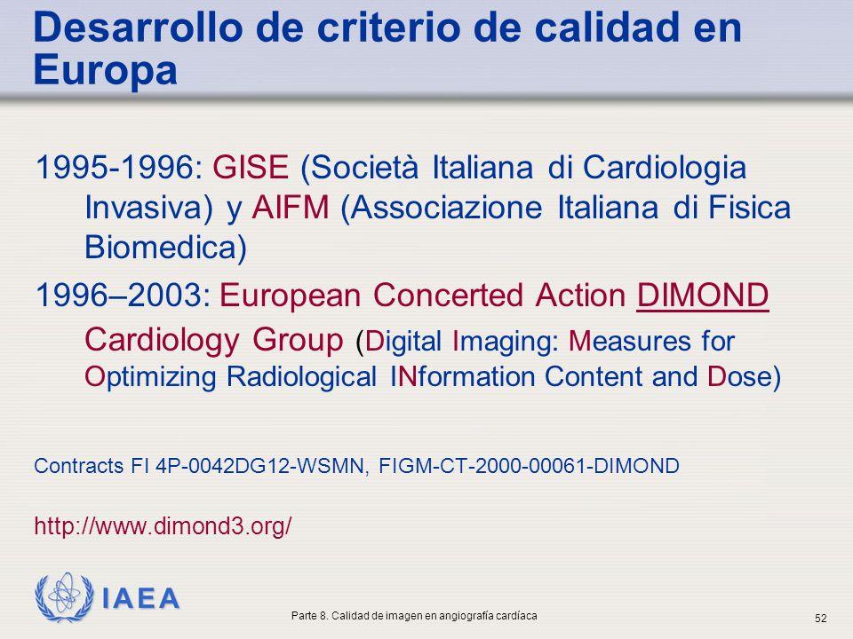IAEA Desarrollo de criterio de calidad en Europa 1995-1996: GISE (Società Italiana di Cardiologia Invasiva) y AIFM (Associazione Italiana di Fisica Bi