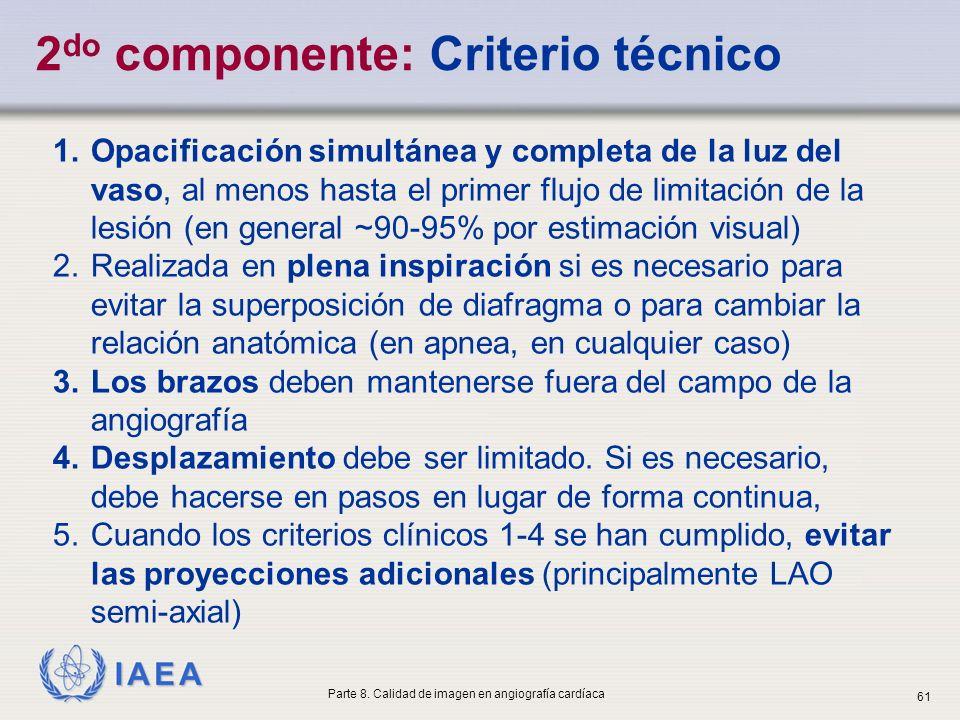 IAEA 1.Opacificación simultánea y completa de la luz del vaso, al menos hasta el primer flujo de limitación de la lesión (en general ~90-95% por estim