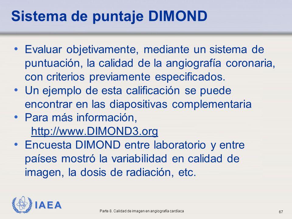 IAEA Sistema de puntaje DIMOND Evaluar objetivamente, mediante un sistema de puntuación, la calidad de la angiografía coronaria, con criterios previam