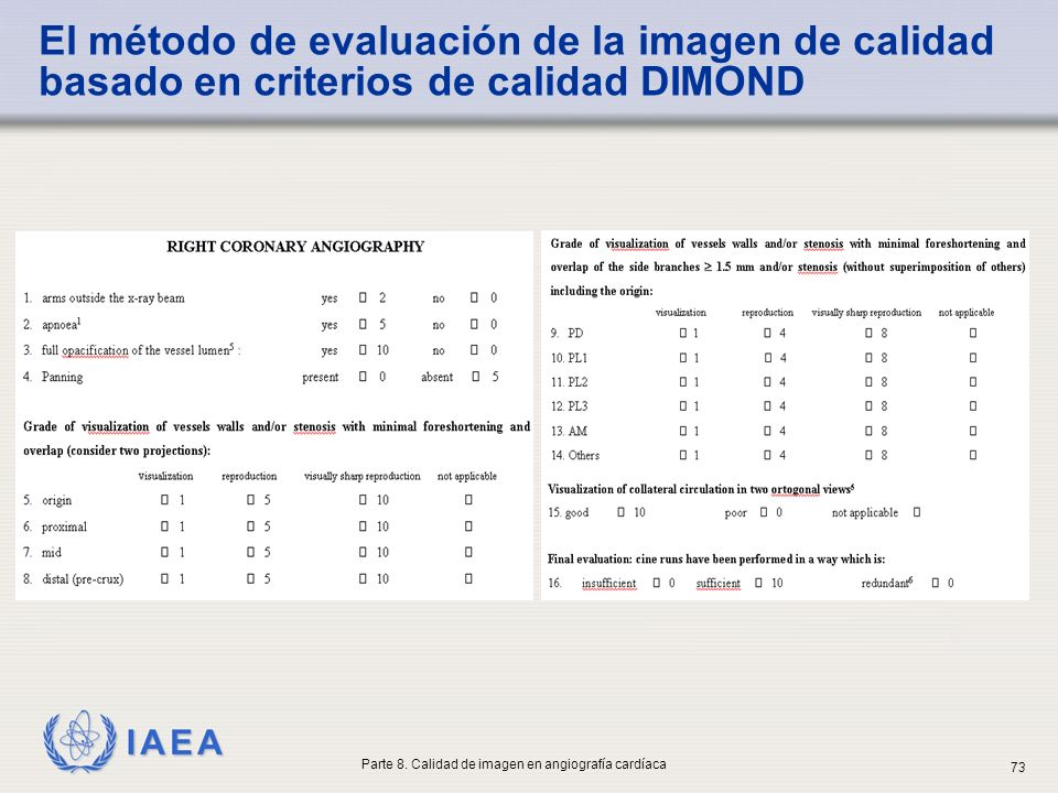 IAEA El método de evaluación de la imagen de calidad basado en criterios de calidad DIMOND Parte 8. Calidad de imagen en angiografía cardíaca 73