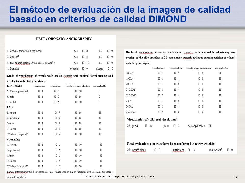 IAEA El método de evaluación de la imagen de calidad basado en criterios de calidad DIMOND 74 Parte 8. Calidad de imagen en angiografía cardíaca