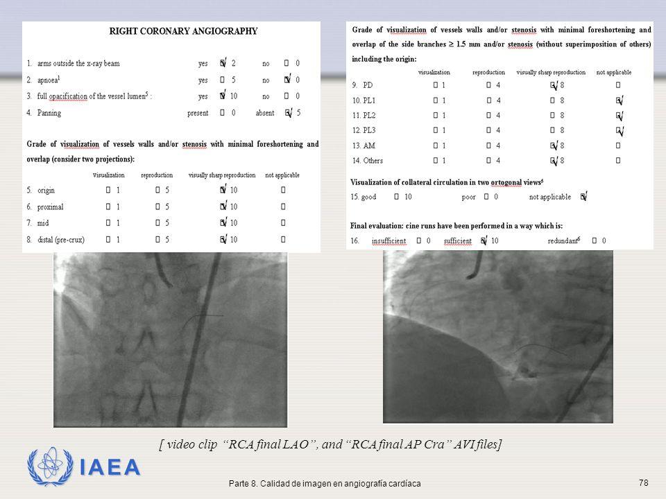IAEA [ video clip RCA final LAO, and RCA final AP Cra AVI files] Parte 8. Calidad de imagen en angiografía cardíaca 78