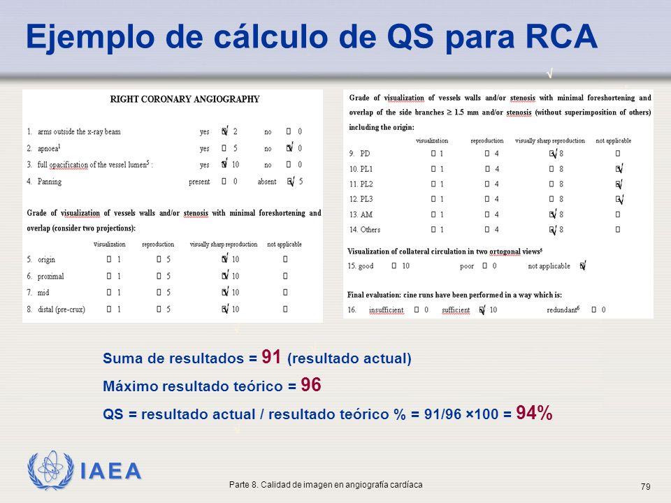 IAEA Ejemplo de cálculo de QS para RCA Suma de resultados = 91 (resultado actual) Máximo resultado teórico = 96 QS = resultado actual / resultado teór
