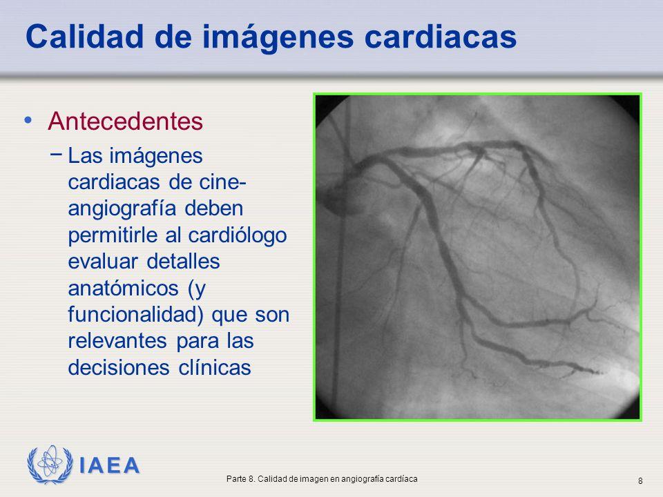 IAEA Antecedentes Las imágenes cardiacas de cine- angiografía deben permitirle al cardiólogo evaluar detalles anatómicos (y funcionalidad) que son rel