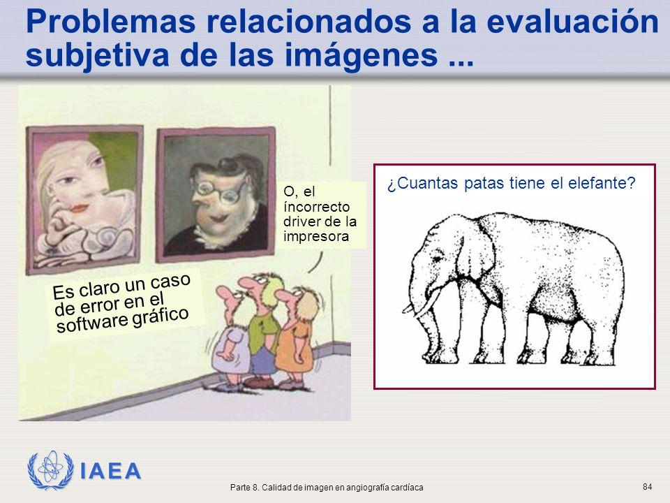 IAEA Problemas relacionados a la evaluación subjetiva de las imágenes... ¿Cuantas patas tiene el elefante? Parte 8. Calidad de imagen en angiografía c