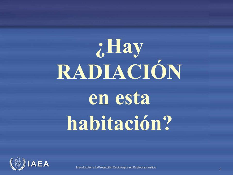 IAEA Introducción a la Protección Radiológica en Radiodiagnóstico 4 La radiación con la que convivimos Radiación natural: rayos cósmicos, radiación interna a nuestro organismo, en la comida, en el agua que bebemos, en la casa en que vivimos, en el campo, en los materiales de construcción, etc.